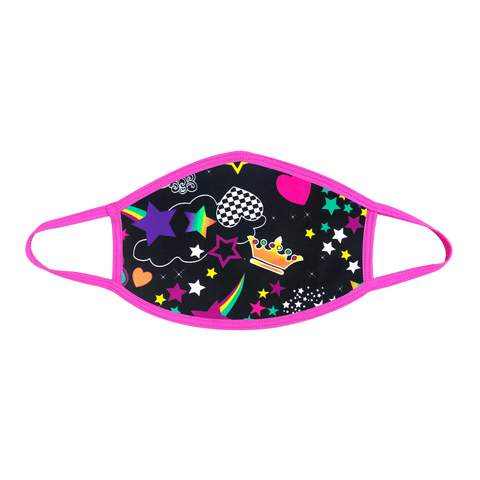 pink and black face mask
