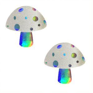 Alice Down The Rabbit Holographic White Glitter Shroom Nipztix Pasties