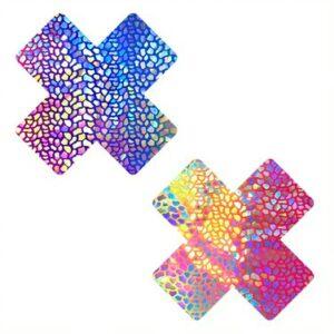 Rainbow Dino Holographic Blacklight X Nipztix Pasties